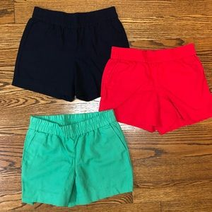 3 pairs J.Crew Factory shorts sz 2 navy, red, grn